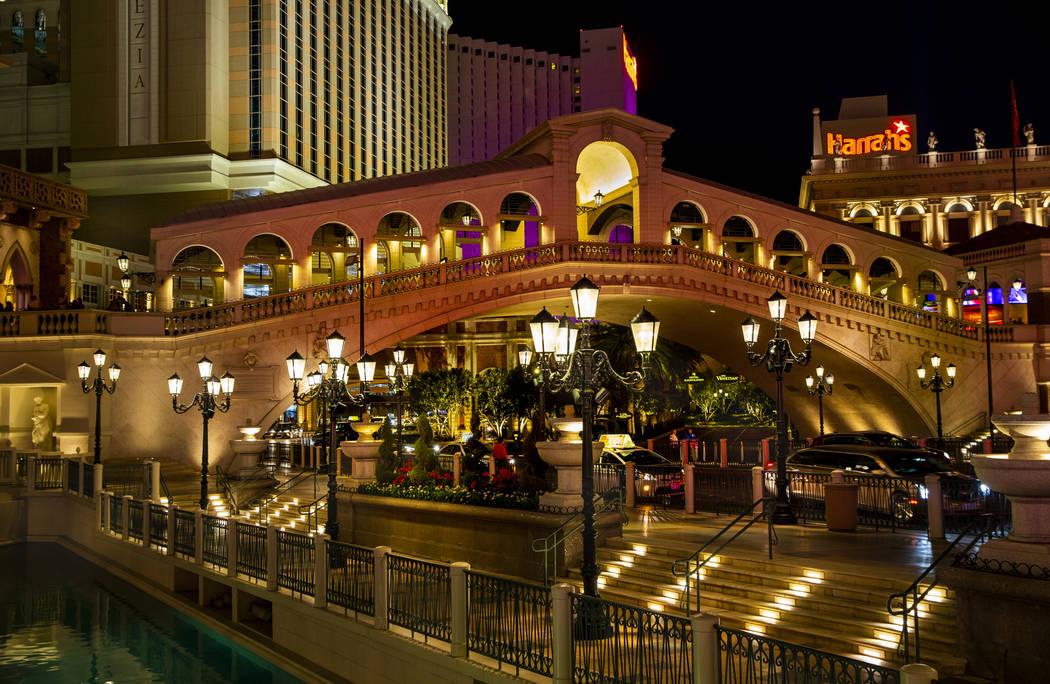 A replica of the Rialto Bridge is seen at The Venetian, Wednesday, April 24, 2019, in Las Vegas ...