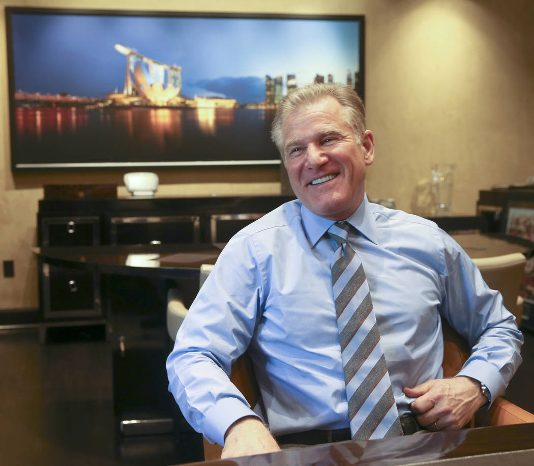 Rob Goldstein, president and chief operating officer of Las Vegas Sands, talks to a reporter in ...