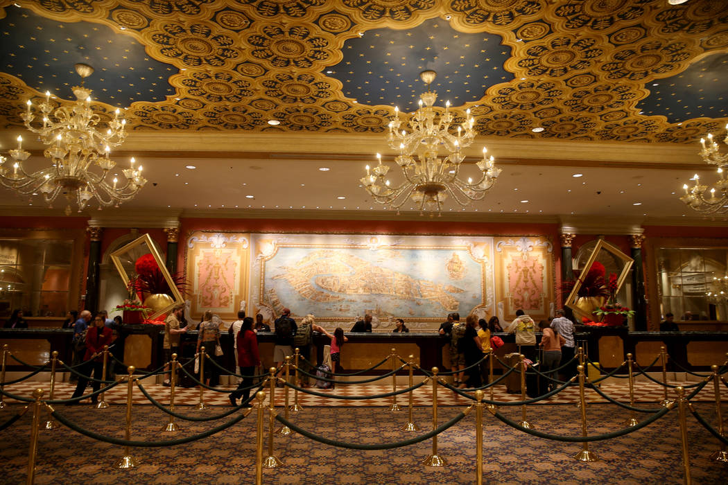 The front desk at The Venetian on the Strip in Las Vegas Thursday, April 25, 2019. The Venetian ...
