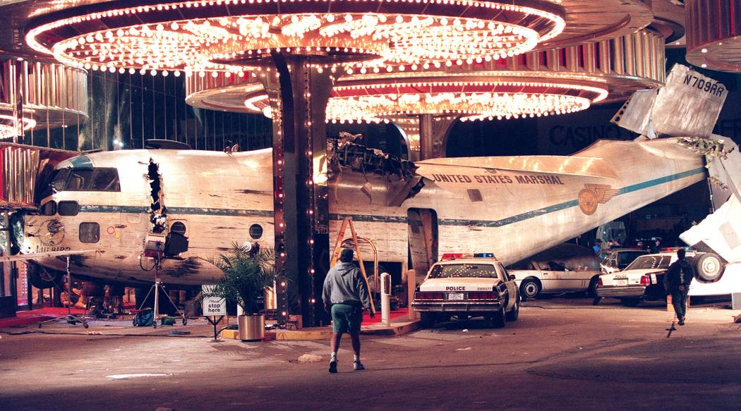 The Set of the movie Con Air filming outside the Sands Hotel. (Craig L Moran)