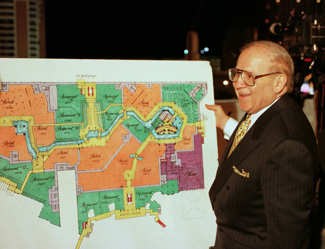 Sheldon Adelson CEO of LVSI displays plans for the new hotel casino just prior to the 1996 impl ...