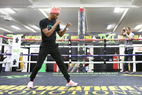Former two-division world champion Rances Barthelemy works out on Tuesday, April 23, 2019, in L ...