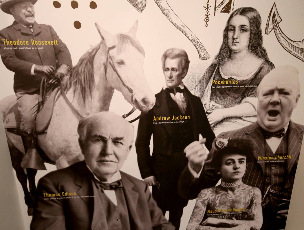 Historical figures who are believed to have had tattoos are shown in a mural at Tattoo'd Americ ...