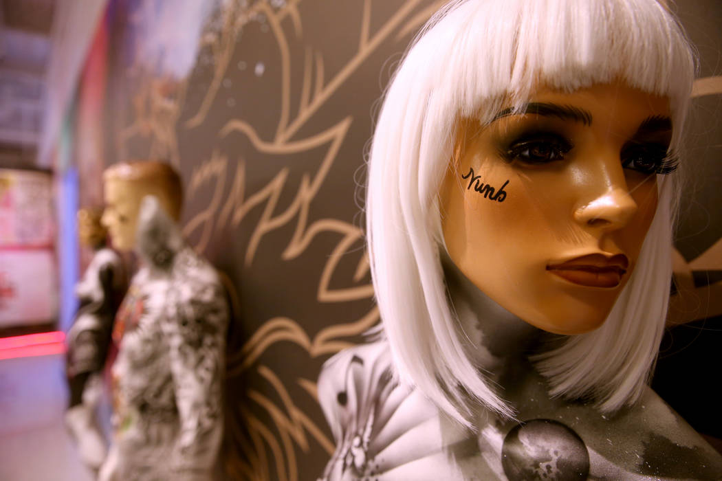 Tattooed mannequins at Tattoo'd America attraction inside Pop Vegas at the Linq Promenade, duri ...