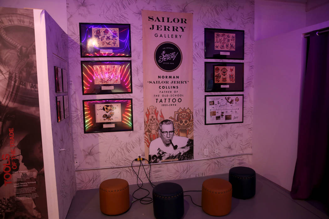 The Sailor Jerry Gallery at Tattoo'd America attraction inside Pop Vegas at the Linq Promenade, ...