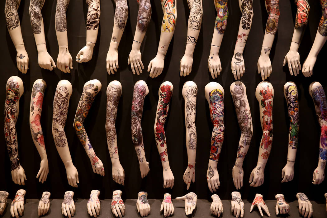 Tattoo samples at Tattoo'd America attraction inside Pop Vegas at the Linq Promenade, during a ...