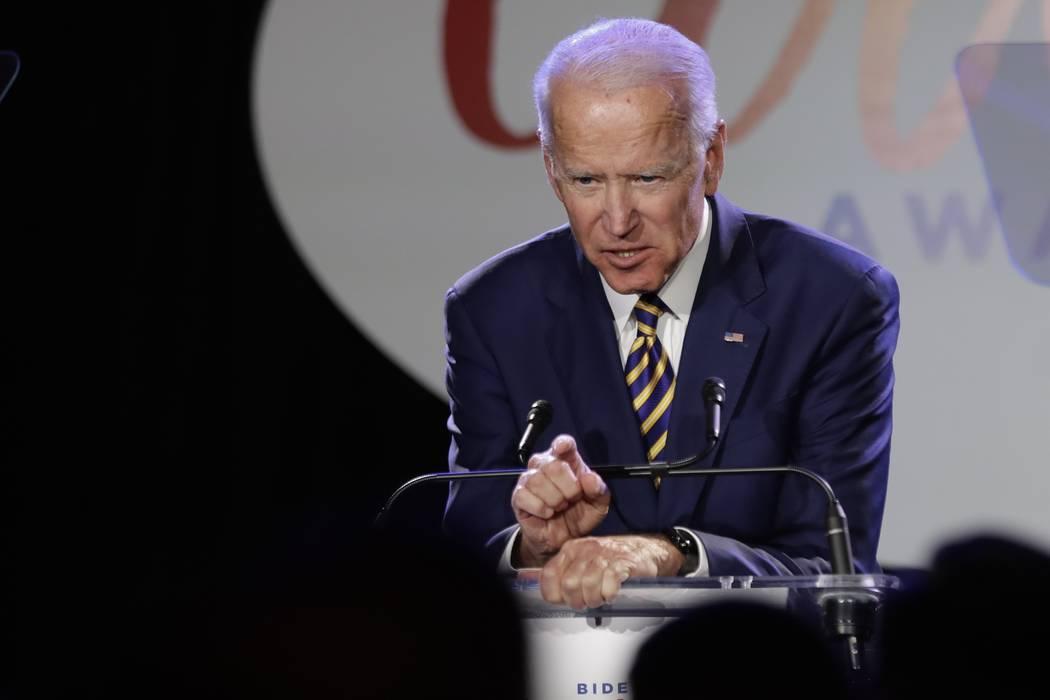 Former Vice President Joe Biden speaks March 26, 2019, at the Biden Courage Awards in New York. ...