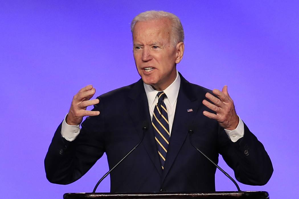 Former Vice President Joe Biden speaks April 5, 2019, at the IBEW Construction and Maintenance ...