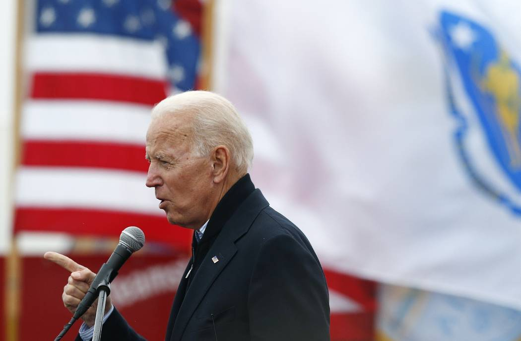 Former vice president Joe Biden speaks April 18, 2019, at a rally in support of striking Stop & ...