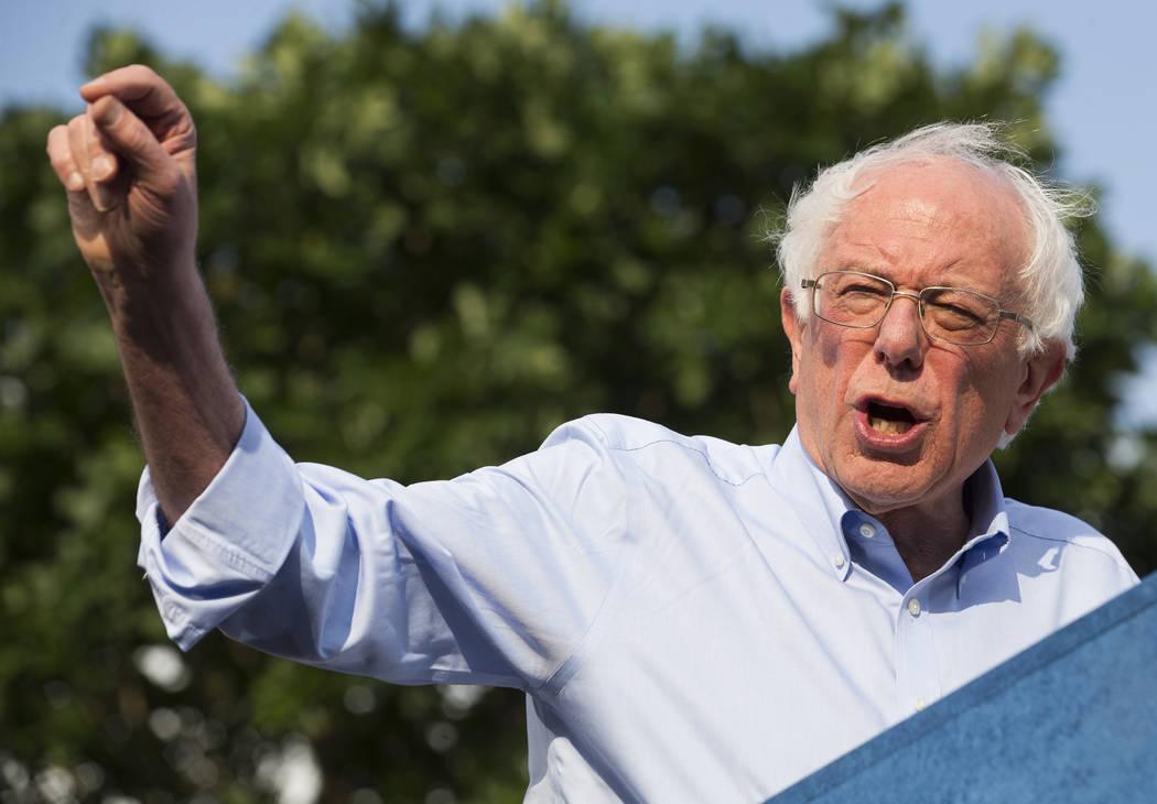 Democratic presidential candidate Sen. Bernie Sanders, I-Vt., Bernie Sanders speaks during a ra ...