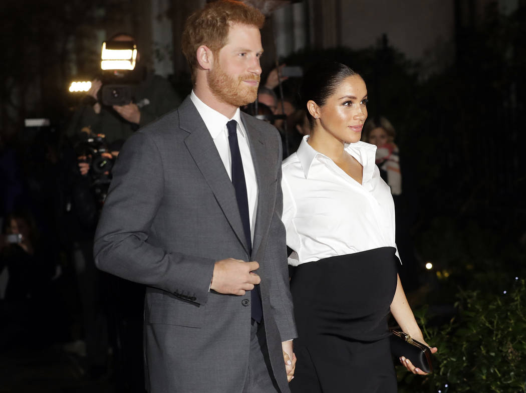 FILE - In this Thursday, Feb. 7, 2019 file photo, Britain's Prince Harry and Meghan, Duchess of ...
