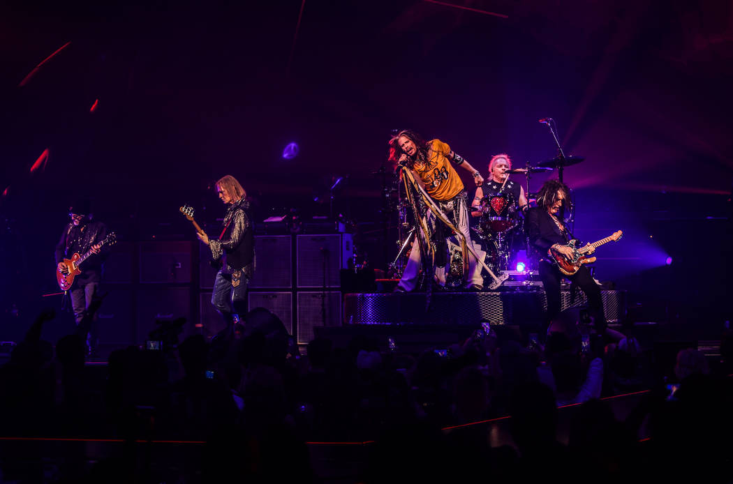 """Aerosmith is shown on opening night of its """"Deuces Are Wild"""" residency at Park Theater at Park ..."""