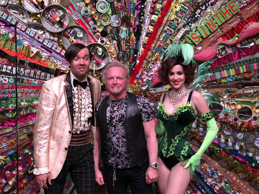 "Joey Kramer of Aerosmith is shown with characters The Gazillionaire and Green Fairy at ""Absinth ..."