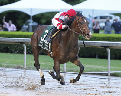 In a photo provided by Oaklawn Park, Omaha Beach, with jockey Mike Smith, wins the Arkansas Der ...