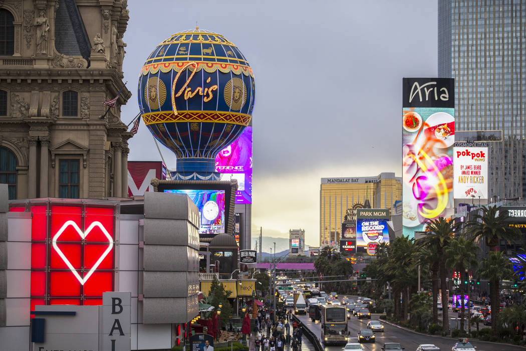 Cars pass by Paris Las Vegas on the Las Vegas Strip on Wednesday, March 20, 2019. (Benjamin Hag ...