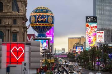 Cars pass by Paris Las Vegas on the Las Vegas Strip on Wednesday, March 20, 2019. (Benjamin Hag ...