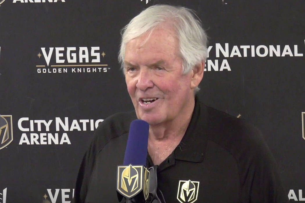 Golden Knights owner Bill Foley speaks during a news conference at City National Arena in Las V ...