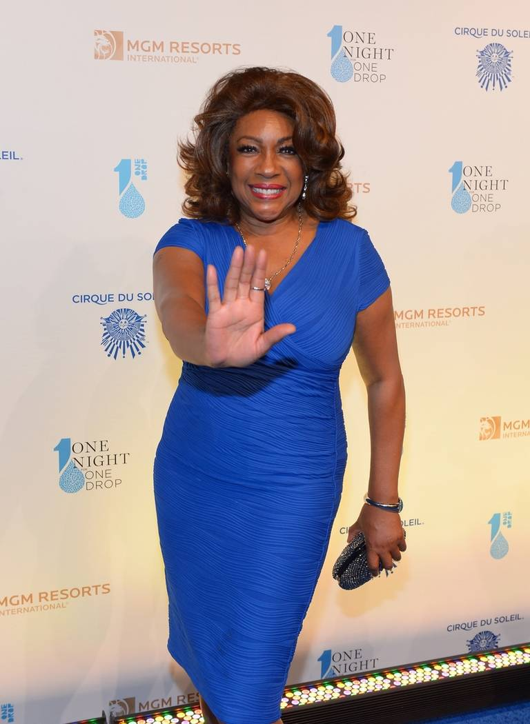 Mary Wilson walks the blue carpet at the One Drop fundraiser at Mandalay Bay. (Bryan Steffy/Wir ...