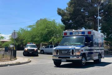 Las Vegas police and medical personnel respond to a shooting on the 3200 block of Silver Saddle ...
