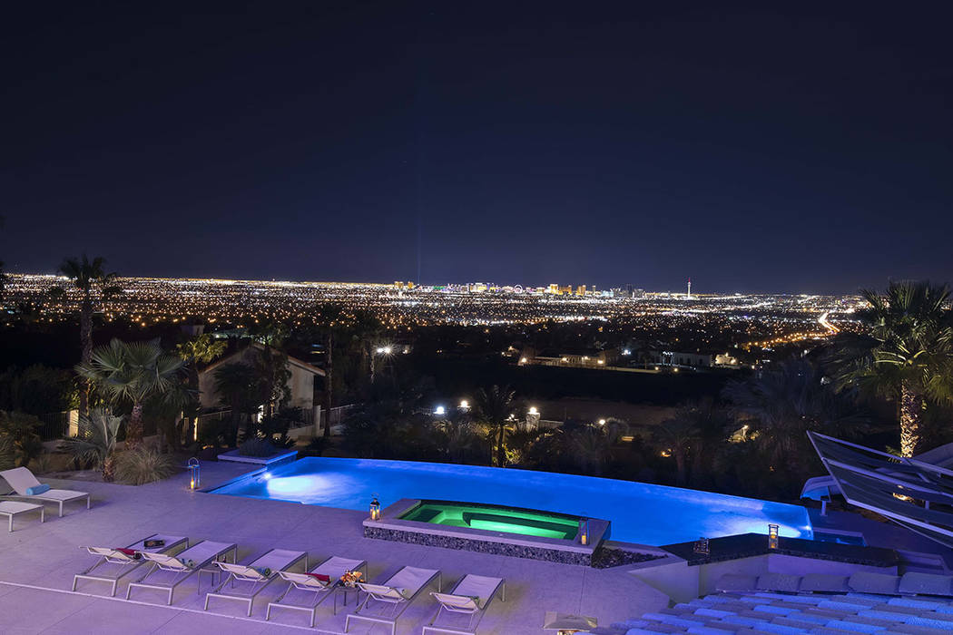The 50-foot, infinity-edge swimming pool looks over the Las Vegas Valley. (Sotherby's Interna ...