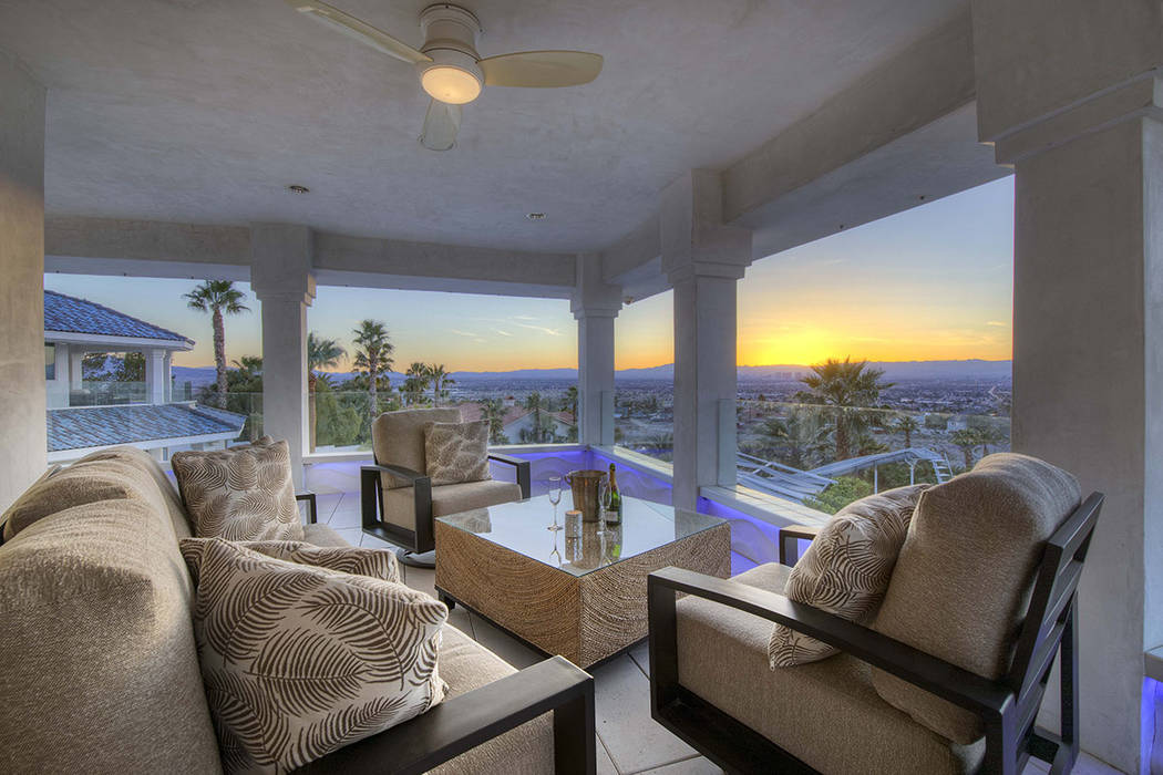 The patio overlooks the Las Vegas Valley. (Sotherby's International Realty, Synergy)