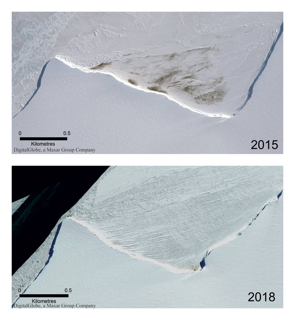 This combination of satellite photos provided by Maxar Technologies via the British Antarctic S ...