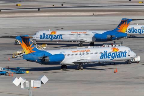 Allegiant Air passenger jets on the tarmac McCarran International Airport in Las Vegas, Sunday, ...