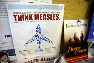 FILE - In this Feb. 6, 2015, file photo, a flyer educating parents about measles is displayed o ...