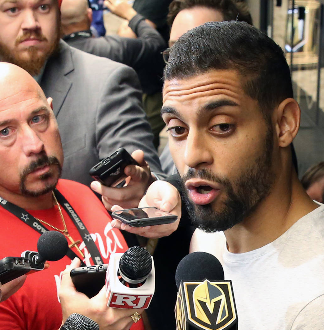Golden Knights center Pierre-Edouard Bellemare addresses the media at City National Arena on Th ...