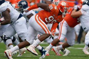 In this Sept. 15, 2018, file photo, Clemson's Clelin Ferrell (99) rushes into the backfield dur ...