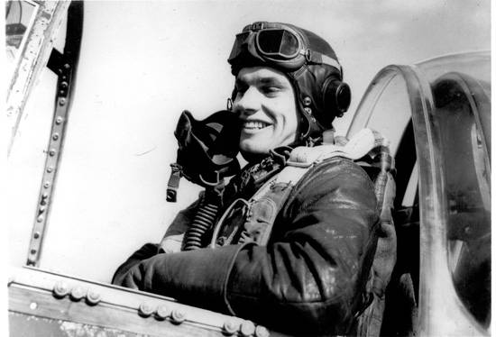 "This undated photo shows a young Col. Clarence ""Bud"" Anderson in his aircraft during World War ..."