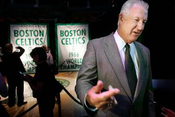 Hall-of-Famer and former Boston Celtic John Havlicek, right, speaks with reporters before the s ...