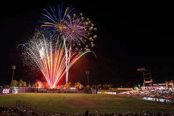 Fireworks light up the sky at Cashman Field at the conclusion of the 51s home game with the Sac ...