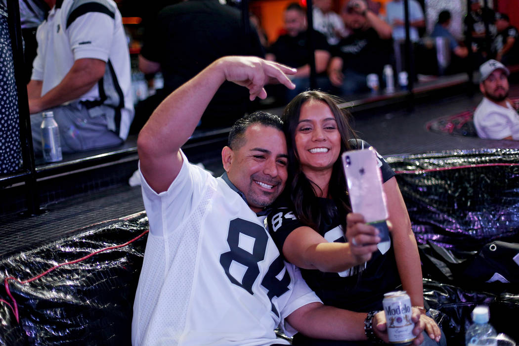 Kevin Shaughnessy and wife Veronica Diaz take a selfie at a Raiders draft party at Drai's night ...