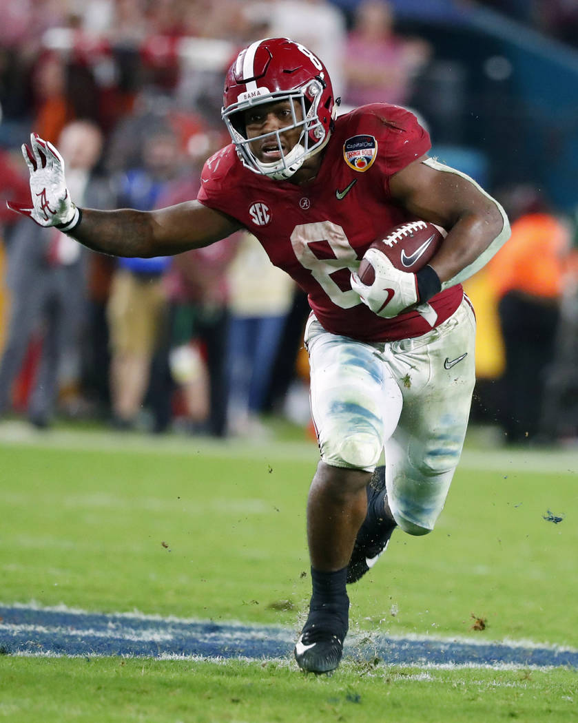 FILE - This Dec. 30, 2018, file photo shows Alabama running back Josh Jacobs (8) during the sec ...