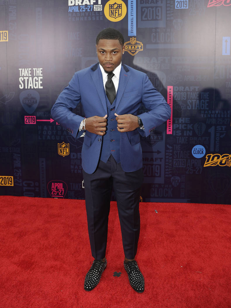 Alabama running back Josh Jacobs walks the red carpet ahead of the first round at the NFL footb ...