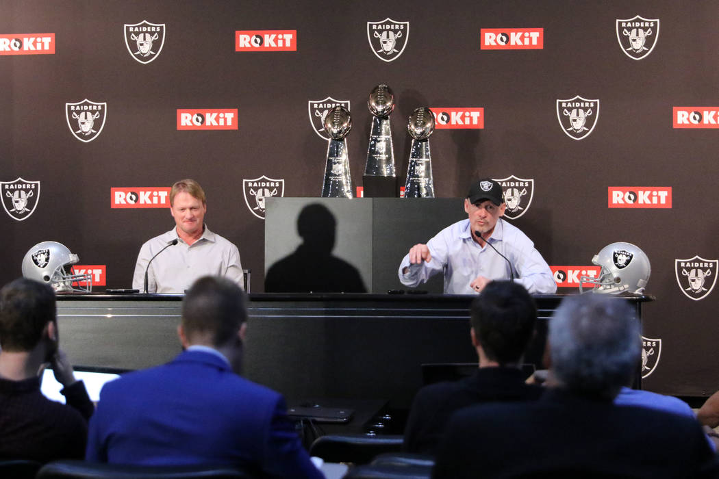 Oakland Raiders general manager Mike Mayock and head coach Jon Gruden address the media during ...