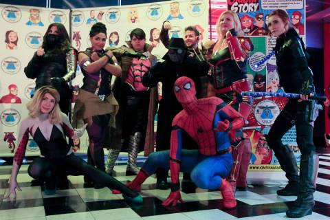 Critical Care Comics cosplayers pose for a photo before the first showing of Avengers: Endgame ...
