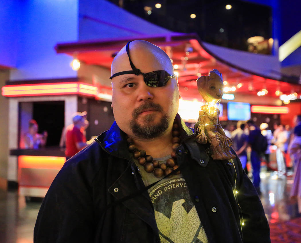 Mark Niven, the owner and creator of Babok Comics , cosplays as Nick Fury before the first show ...