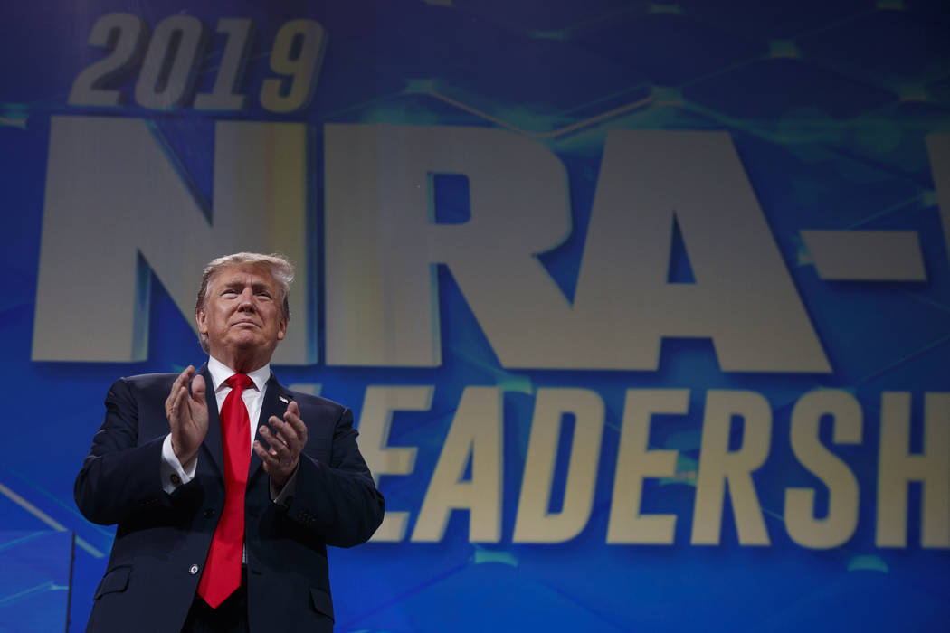 President Donald Trump arrives to speak to the annual meeting of the National Rifle Association ...