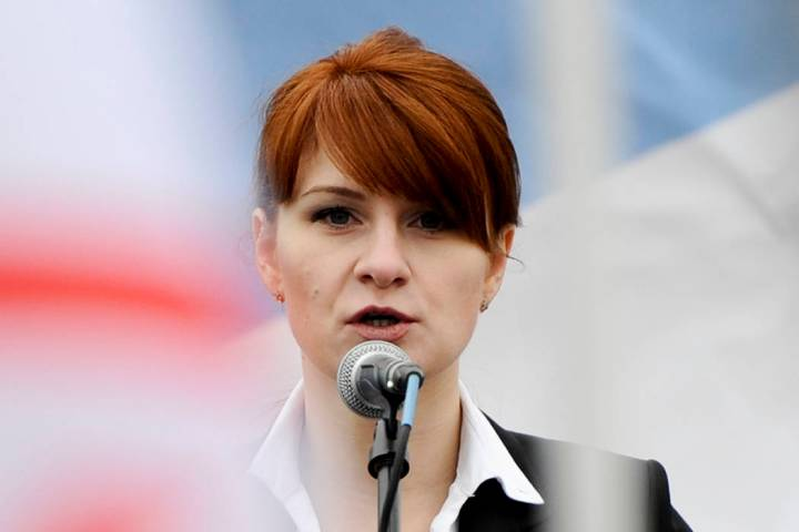 Maria Butina, leader of a pro-gun organization in Russia, speaks April 21, 2013, to a crowd dur ...