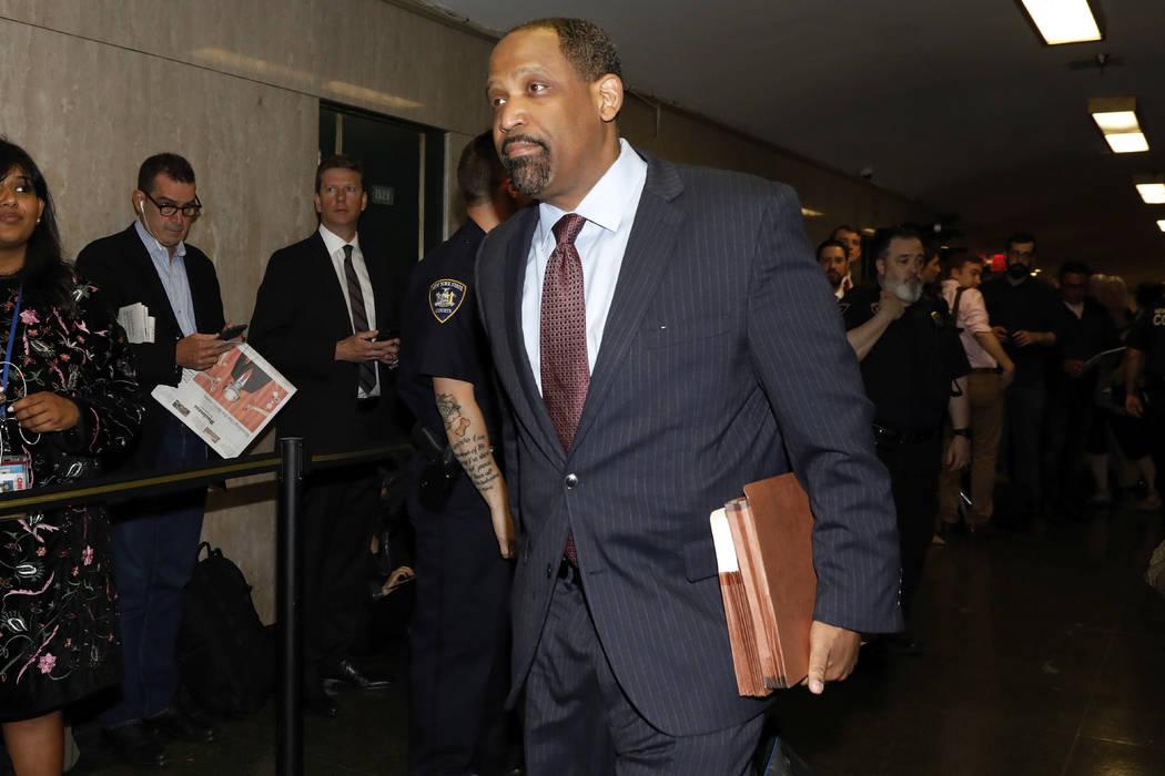 Attorney Ronald Sullivan, for Harvey Weinstein, enters State Supreme Court in New York, Friday, ...