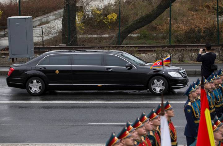 North Korean leader Kim Jong Un's limousine arrives for a wreath-laying ceremony in Vladivostok ...