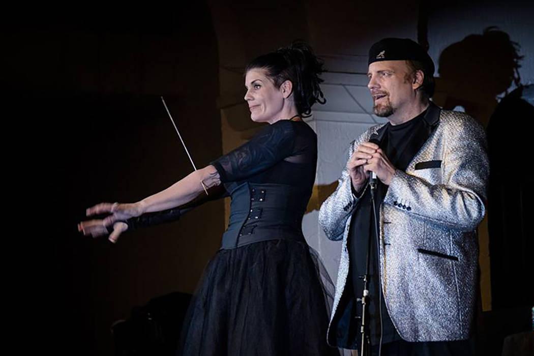 Anastasia Synn, left, performs with The Amazing Johnathan. (Anastasia Synn)