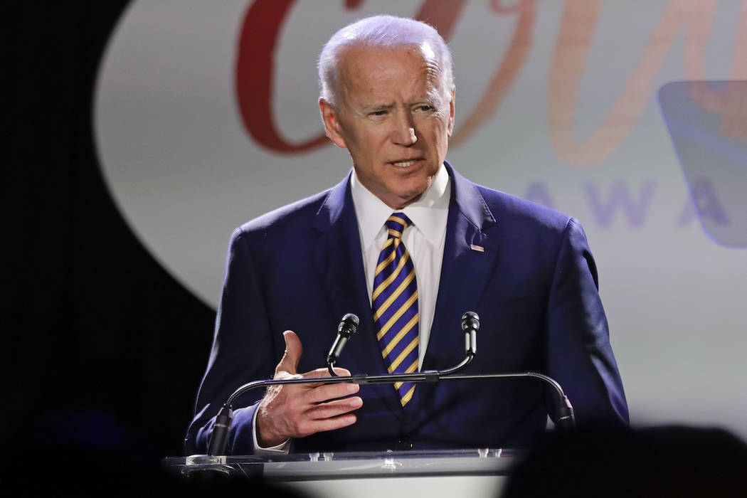 Former Vice President Joe Biden speaks at the Biden Courage Awards Tuesday, March 26, 2019, in ...