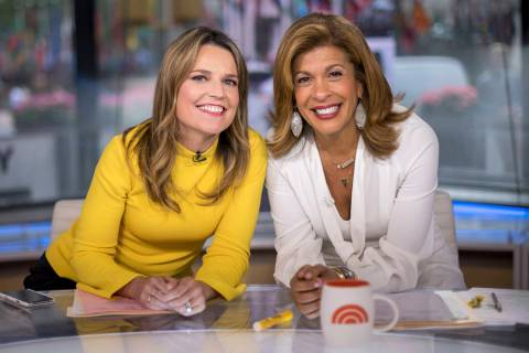 """Today"" show co-anchors Savannah Guthrie, left, and Hoda Kotb pose on set at NBC Stud ..."