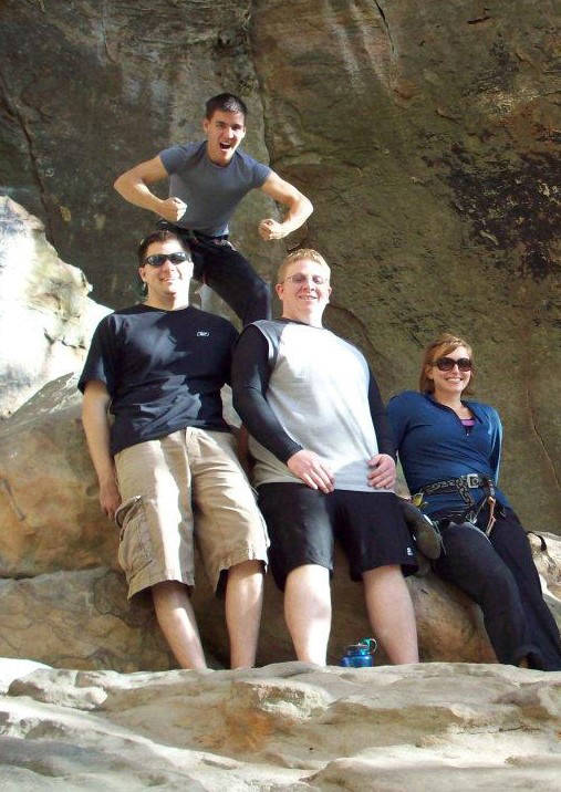 From left to right bottom, Brad Phillips, Jake Moore and Melissa Holzhauer, with James above, o ...