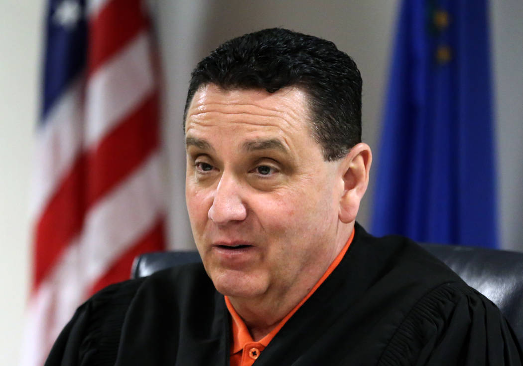 Judge William Voy presides on Friday, April 26, 2019, in Clark County Juvenile Court during a s ...