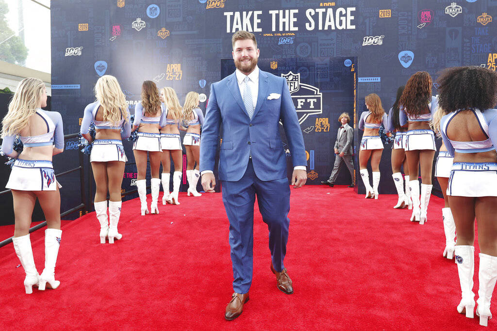 Alabama tackle Jonah Williams walks the red carpet at the NFL draft, Thursday, April 25, 2019, ...