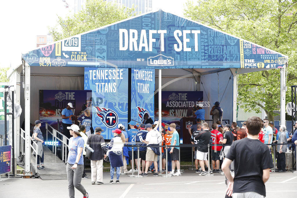 Fans attend the NFL Draft Experience, Thursday, April 25, 2019, in Nashville, Tenn. (AP Photo/A ...